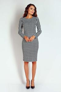 Black//White Checkered Midi Pencil Dress