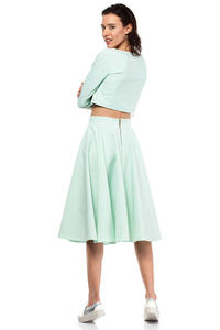 Mint Pleated Midi Skirt with Back Zipper Fastening