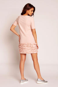 Pink Little Frills on the Hem Short Dress