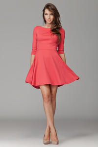Coral Giggly Fashion Flared Skirt Dress