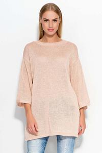 Salmon Oversized 3/4 Sleeves Sweater