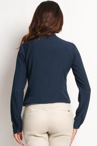 Dark Blue Ladies Shirt with Chest Pockets