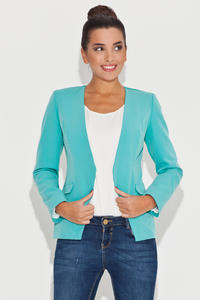 Laser Cut Front Open Green Blazer