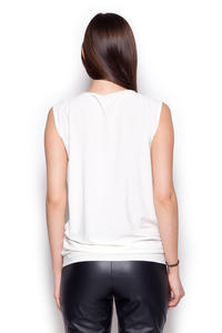 Ecru Sleeveless Drape Blouse with Front Strap