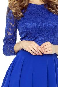 Blue Evening Dress with Lace Top