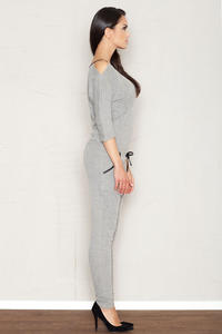 Grey Jumpsuit with Cut Out Shoulders