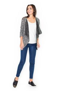 Grey Stylish Cardigan with Loose Lapels