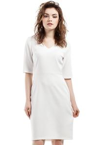 Ecru Soft Office Style Knee Length Dress