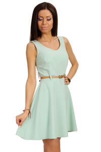 Mint Round Neck Sleeveless Flippy Dress with Belt Loops