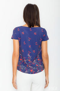 Dark Blue Short Sleeves Floral Pattern Blouse