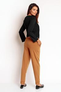Brown Tapered Legs Elastic Waist Casual Pants