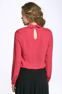 Fuchsia Round Collar Long Sleeves Blouse