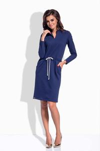 Dark Blue Shirt Collar Casual Midi Dress