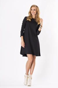 Black Plain Long Sleeves Dress