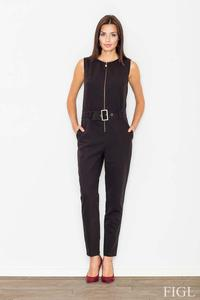 Black Zipper Closure Belted Ladies Jumpsuit