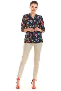 Navy Blue Floral blouse with 3/4 sleeves