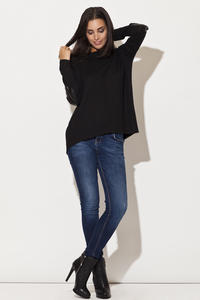 Drop Shoulder Elbow Patch Bateau Neck Black Sweater