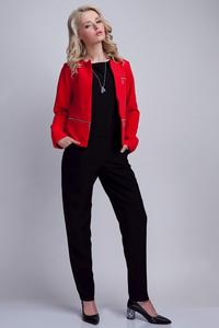 Red Elegant Ladies Blazer with 3 Zippers