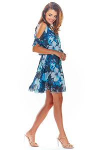 Navy airy summer floral dress with slit sleeves
