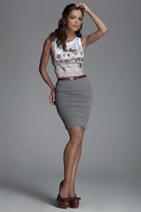 Horizantal Seam Short Pencil Grey Skirt