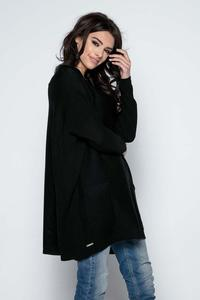 Black Oversized Tunic with Front Pockets