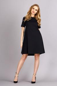 Black Short Sleeves Flared Knee Lenght Dress