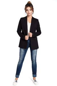 Black Casual No Buttons Blazer