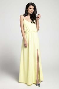 Yellow Airy Maxi Dress on Thin Straps with a Slit