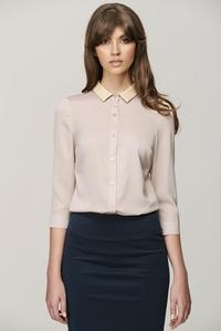 Beige 3/4 Sleeves Shirt with Leather Collar