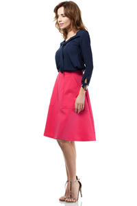 Pink Flared Knee Lenght Skirt with Pockets