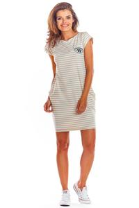 Beige Knitted Mini Dress with Striped Pockets