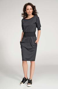 Dark Grey Contarsting Slim Waist Dress