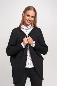 Black Raglan Sleeves Loose Cardigan