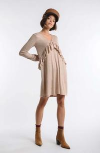 Beige Knitted Dress with Asymmetrical Frill