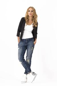 Black Casual Round Neck 3/4 Sleeves Short  Blazer