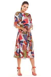 Classic Flared Dress with a Colorful Pattern