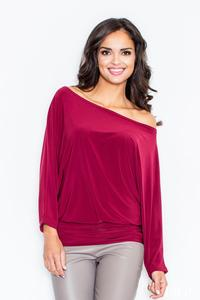 Dark Red Loose Bat Long Sleeves Blouse