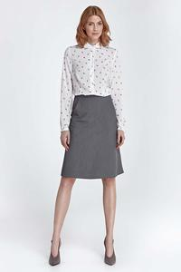 Grey Knee Length Skirt with Pockets