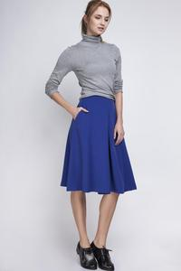 Indygo Blue Retro Style Midi Lenght Skirt with Double Fold