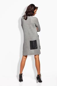 Light Grey Knitted Tunic With Leather Pocket