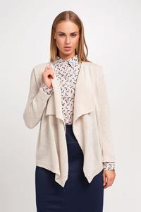 Beige Stylish Loose Lapels Cardigan