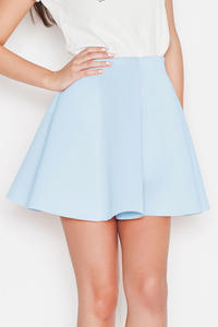 Blue Light Pleates High Waist Mini Skirt