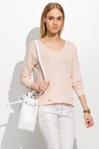 Powder Pink Loose Fit V-Neck Jumper