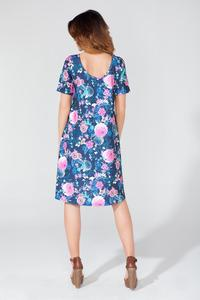 Floral Short Sleeves Dipped Back Dress