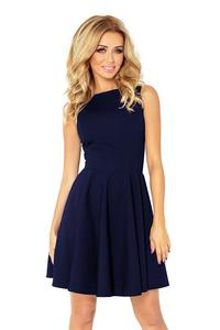 Navy Sleeveless Coctail Dress with Light Pleats