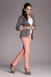 Contrast Sleeves Grey Blazer with Twin Side Flap Pockets