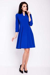 Cornflower Blue V-Neckline Flared Dress