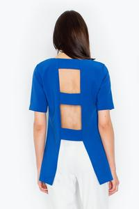 Blue Elegant Cut-Out Back Blouse