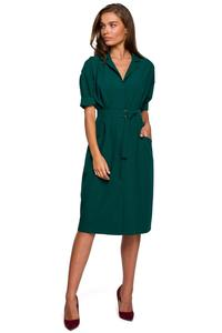 Green Belted Dress with Pockets