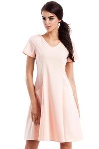 Pink Flared Short Sleeves Dress with Front Pockets